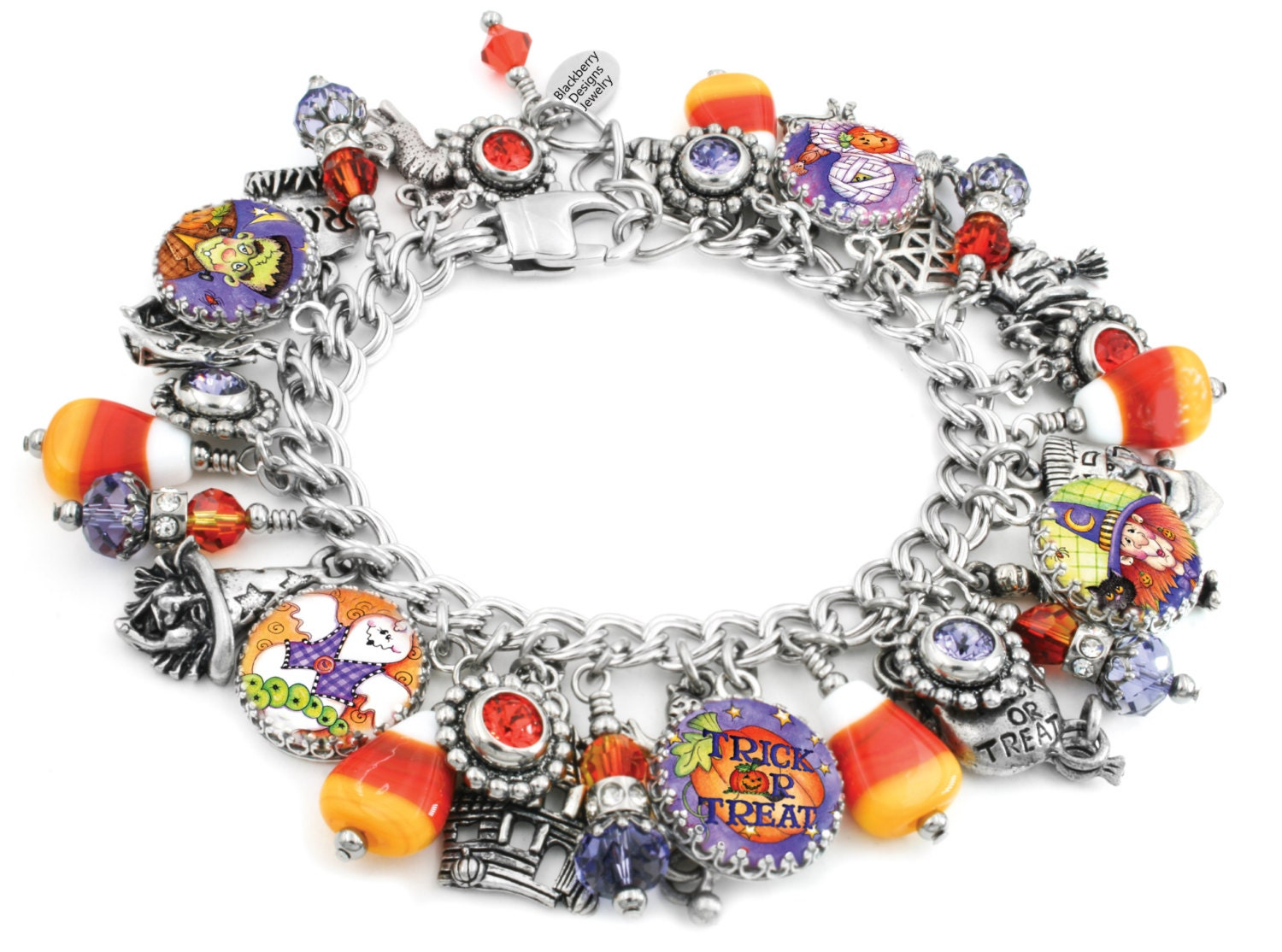 halloween charm bracelet, trick or treat, orange and black, corn candy, ghosts charms,