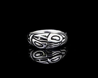 Raven And Eagle Ring,  Recycled sterling silver