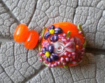 Rose Murrini Focal and Spacers Lampwork Beads by Cherie Sra R114 Orange Floral Flameworked Bead Floral Lampwork Rose Murrini Applied Flower