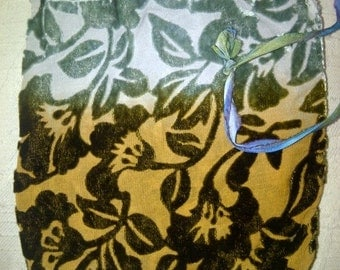 Lovely Vintage VELVET Burn Out Floral DRAWSTRING POUCH in Earth Tones - One-of-a-Kind