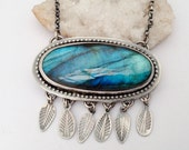 Eye Catching Labradorite Statement Necklace, Sterling Silver Necklace, Statement Necklace, Metalsmith Jewelry
