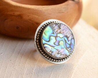 Abalone Ring, Hand Forged Silver Ring, Handmade Artisan Ring, Stone Ring, Boho Chic Style, Made in YOUR Size