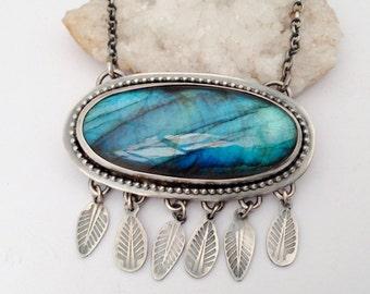 Eye Catching Labradorite Statement Necklace, Sterling Silver Necklace, Statement Necklace, Metalsmith Jewelry,Artisan Jewelry,Modern