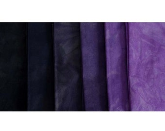 GRAPE Shades - hand dyed Fabric - 6 pc Fat Quarter Gradation Bundle - Tuscan Rose CPBK621