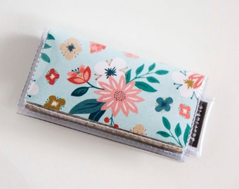 Handmade Vinyl Mini Card Holder / Foundry  - mini card, moo card, small wallet, snap, vinyl, paper, cute wallet, flowers, floral