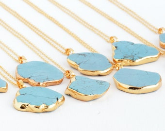 Gemstone Boho Necklace - Turquoise Bohemian Necklace - Large Gemstone Slice Necklace - Turquoise Pendant - Turquoise Gold (GN001)
