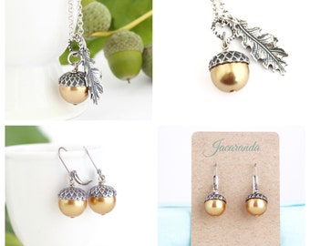 Mothers Jewelry -  Acorn necklace - Sterling Silver - Acorn Jewelry Gift Set - Woodland Jewelry - Acorn Jewelry Set - Pearl Acorn Jewelry