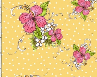 Lady Luau Pink flowers  0n Sunshine Yellow by Loralie Designs, , yard