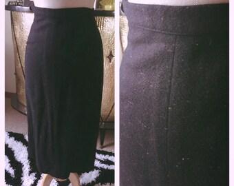 Vintage 1950s Skirt black pink wiggle pencil pinup 50s XS S rockabilly mint VLV