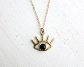 The Beholder - Brass and Onyx Evil Eye Pendant - Handmade and Cast