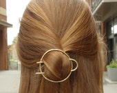 Hair Ware // Hammered solid brass / hair fork/ hair pin / bun pin / top knot /  bun holder / double hair pin / etched brass hair accessory