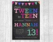 Custom Printable 5x7 Tween To Teen Girl's 13th Thirteen Birthday Party Invitation - Chalkboard with Colorful Party Banner - Digital Download