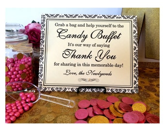 CLEARANCE 8x10 Flat Printed Wedding Candy Buffet Paper Sign in Black and Cream Damask with Pearl Accent - Ready to Ship