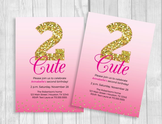 Custom Printable 2 Cute Girl's 2nd Birthday Invitation - Hot Pink Ombre and Gold Glitter - Second Birthday, Too Cute