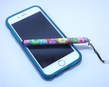 Handmade Colorful Millefiori Floral Polymer Clay Stylus Headphone Jack Dust Plug, Cell Phone, IPod, IPad, Tablet