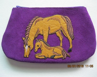 MARE and FOAL   on Purple Leather Suede