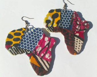 Colorful Africa Patchwork Fabric Earrings