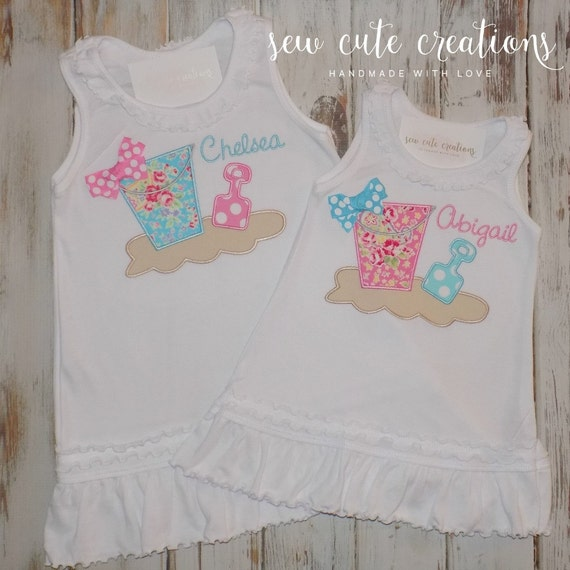 Personalized Beach Bucket Shovel Sand Dress Custom Summer Girls Boutique Monogram short sleeve long sleeve tank custom embroidered sew cute
