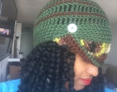 Funky Fall Cloche - Ready to Wear - Brown, Green and camo