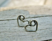 Sterling Silver Bear Hug Heart Studs - small post style antiqued silver earrings