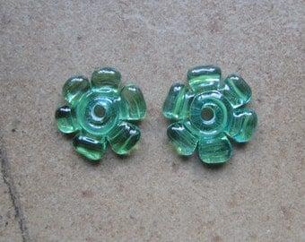 Lampwork Beads - SueBeads - Disc Beads - Green Blue Cut Disc Flower Bead Pair - Handmade Lampwork Beads - SRA M67