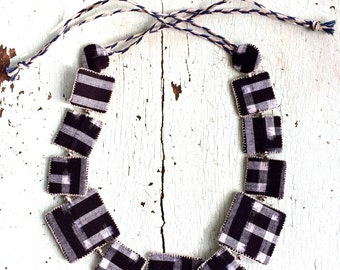 Kasuri Indigo Textile Necklace