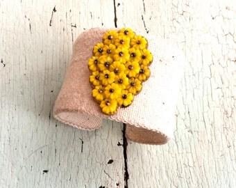 Grain Sack and Vintage Beaded Adjustable Cuff - Sunshine