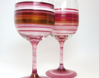 Pair Hand Painted Garnet Red Wine Glasses- Original Home Decor- Unique Glassware