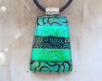Green Necklace, Black, Dichroic Glass Pendant, Fused Glass Jewelry, Necklace Included, One of a Kind, A8