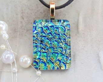 Dichroic Glass Pendant, Fused Necklace, Gold, Blue, Aqua, Necklace Included, A5