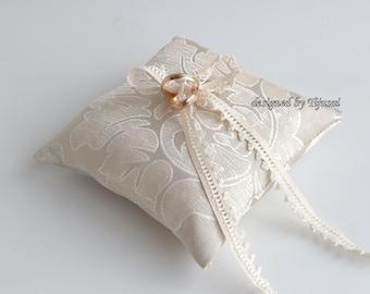 Beige ornamental wedding ring bearer pillow, ring bearer pillow, wedding pillow , ring bearer, ring cushion-ready to ship