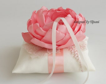 Wedding ring bearer pillow with coral/pink  flower and embroiderings ---wedding ring pillow, wedding pillow, ring bearer, ready to ship