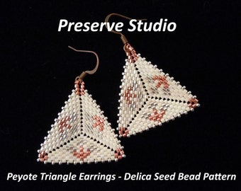 Flower Peyote Triangle Delica Seed Bead Pattern, Beaded Triangle Pattern, Beading Tutorial, Peyote Stitch, DIY Earrings
