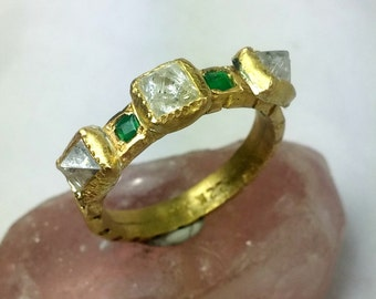 Solid 22 kt gold ,Diamond and Emerald  Ring, ancient style emerald and diamond band, anniversary band