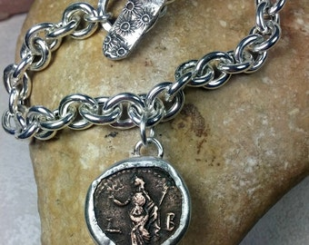 Roman Coin sterling  chain Bracelet, ancient coin and heavy sterling toggle Bracelet,  authentic coin, ancient coin jewelry