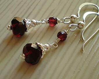 Red Garnet Sterling Silver dangle dainty earrings