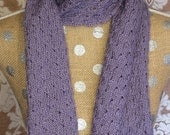 Lavender Handknitted Wool Blend Scarf