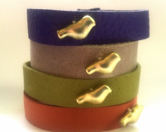 Boho Leather stacking cuff with bird
