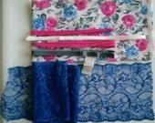 DIY BRA Kit FIRM Pink Flowers & Cobalt by Merckwaerdigh