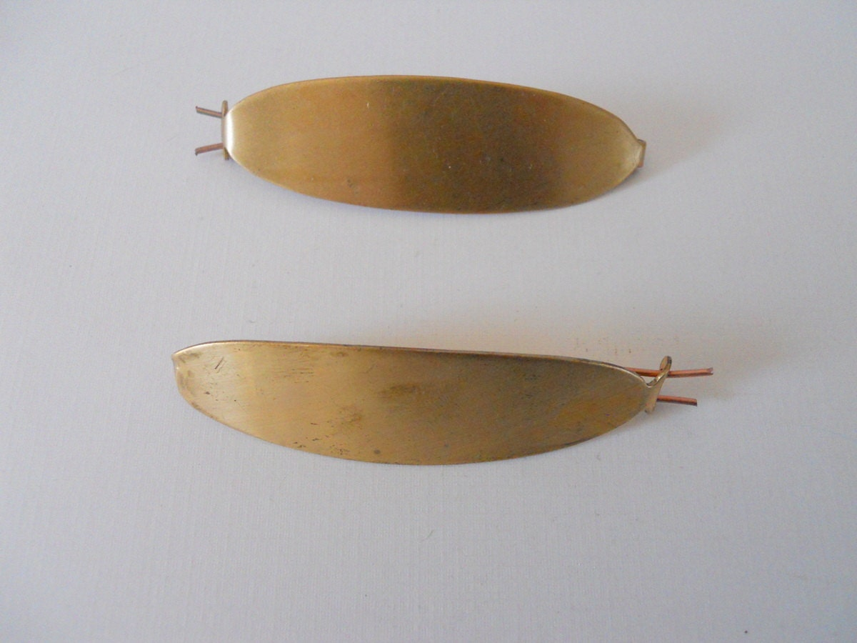 pair vintage brass hair barrette for collage