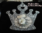 Silver Glittered Crown Ornament Tag with Merry Christmas Sign, White Rose, Musical Background and Snowflake, ECS