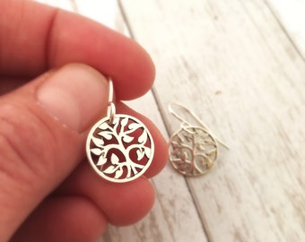Small sterling silver Tree of life earrings