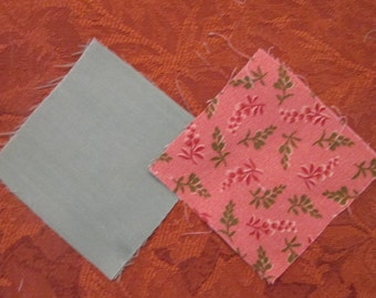 "Quilt Blocks - Large Batch of Precut 3"" Quilt Blocks - Peach and Mint/ Calico and Solid"