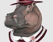 Hippo art print - Animal art - Nursery art - Nursery decor - Animals in Clothes - Children's art - Ryan Berkley Illustration 5x7
