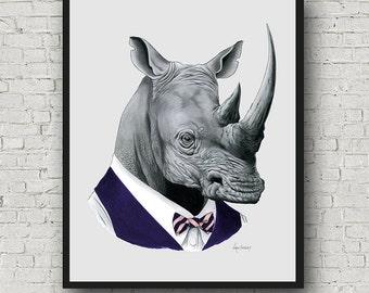 Oversized Rhino print - Ryan Berkley Illustration - 16x20 or 20x28 inches - Modern Decor - Modern Nursery - Modern Kids - Safari Animals
