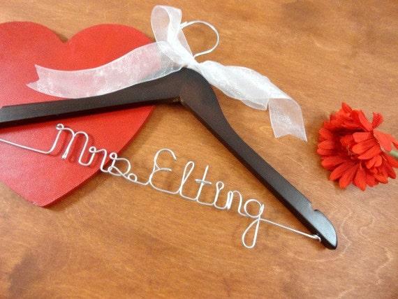 Personalized hangers wedding gown hanger gift for bride for Wedding dress hangers personalized