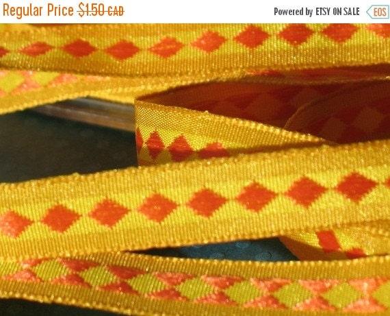 SALE - Sunset Orange Diamond - Center Woven Ribbon