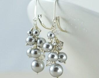 Swarovski Pearl Cluster Earrings - Swarovski Crystal Pearls, Swarovski Crystals, Sterling Silver