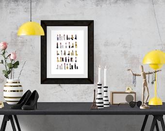 30 Lipsticks Fashion Illustration Art Poster