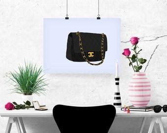 Chanel 2.55 Flap Bag Fashion Illustration Art Poster